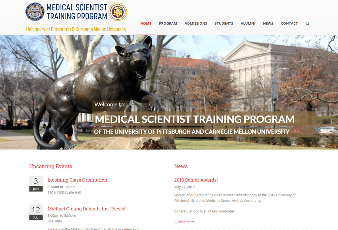 Pittsburgh University Medical Scientist training Program Website - Home Page Thumbnail
