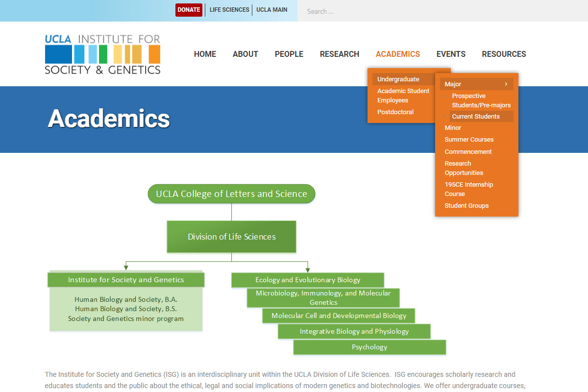 UCLA Institute for Society and Genetics Website - Page Thumbnail
