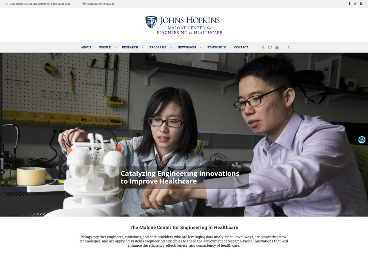 Johns Hopkins Malone Center Website Thumbnail